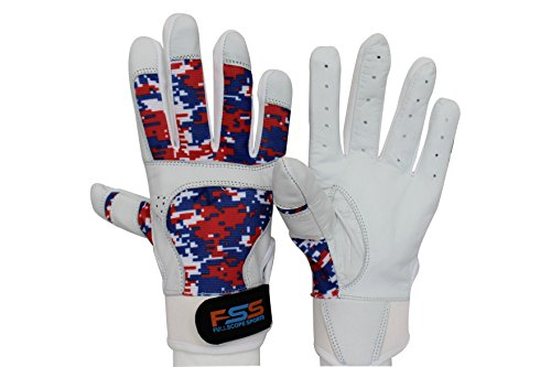 FullScope Sports Baseball Batting Gloves for Adult Boys Girls Youth Pro Softball Glove (6-17 Years) (Red/White/Blue Digital Camo) Youth Medium (Ages 7-8 yrs Old)