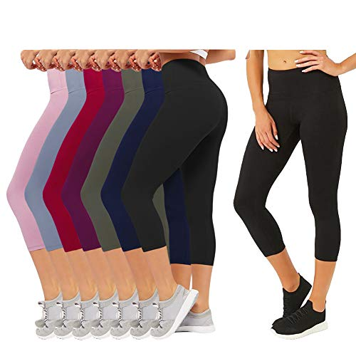 (CAMPSNAIL Plus Size High Waisted Leggings for Women Yoga Pants Seamless Capri Leggings Compression Workout Leggings (US 14-24(Plus Size), Elegant Leggings- 8 Pair))