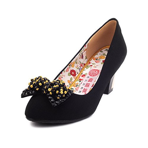 VogueZone009 Womens Closed Toe Round Toe Kitten Heels Fabric Soft Material Solid Pumps with Flower, Black, 4.5 UK