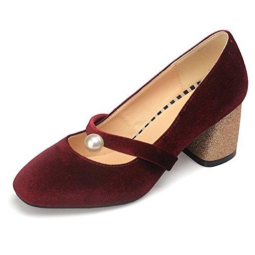 VogueZone009 Femme Tire à Talon Correct Suédé Couleur Unie Chaussures Légeres Rouge Vineux 0iGSEzME