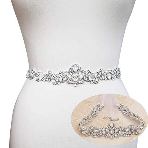 (Yanstar Handmade Crystal Rhinestone Wedding Belt Bridal Belts With Ribbons For Wedding Dress (Silver Organza))