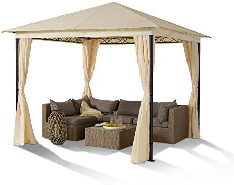 TOOLPORT Cenador de jardín 3x3 m Acero Vintage 180 g/m² Techo Lona Cenefa cenador Impermeable Carpa de jardín 4 Cortinas Laterales champaña: Amazon.es: Jardín
