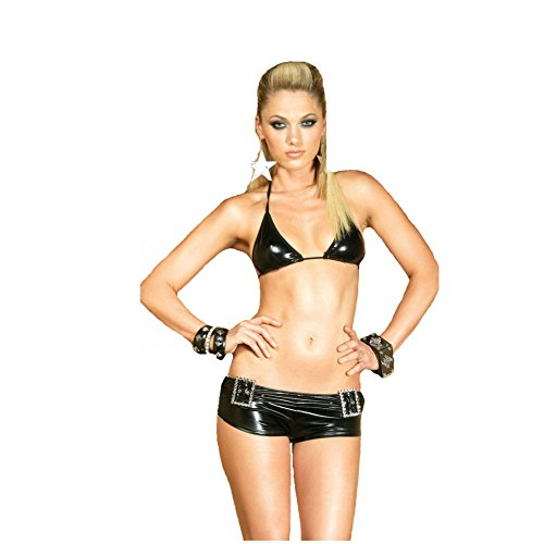 2 PC. Lame bikini top and booty shorts with belt front detail and rhinestone look buckles.(BLACK,SMALL) - Vinyl Booty Shorts