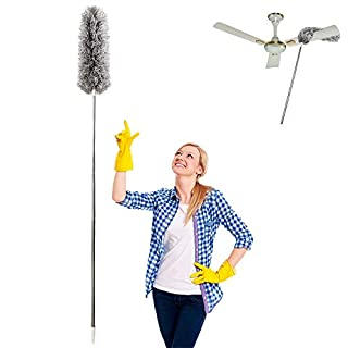 Microfiber Duster for Cleaning with Extension Pole Reaches about 100 Inches,LECAMEBOR Flexible and Extendable Duster for Cleaning Ceiling Fan/Furniture/Keyboard/Cobweb