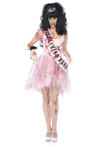 [Leg Avenue Women's 3 Piece Putrid Prom Queen Costume, Pink, Medium/Large] (Zombie Queen Costumes)