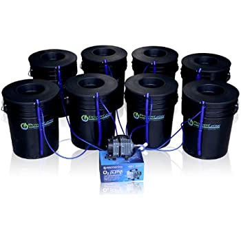 """Deep Water Culture (DWC) Hydroponic Bubbler 8 Bucket Kit with 6"""" Lids by PowerGrow ® Systems"""