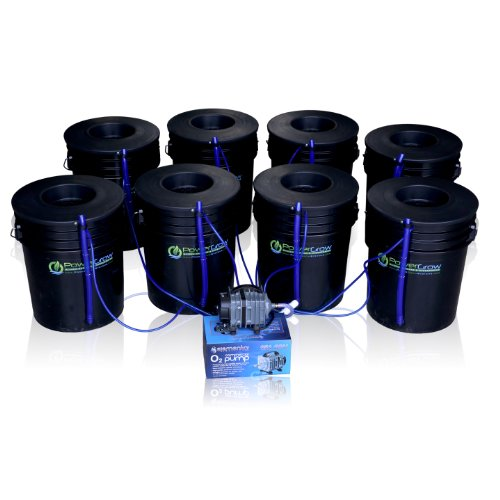 (Deep Water Culture (DWC) Hydroponic Bubbler 8 Bucket Kit with 6