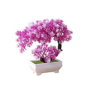 Sevem-D New 1Pc Artificial Lotus Plant Potted Indoor Table Top Ornaments Simulation Bonsai Craft Fake Green Decoration 8