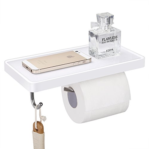HOMEIDEAS Toilet Paper Holder, SUS304 Stainless Steel Bathroom Roll Tissue Holder with Mobile Phone Storage Shelf, Wall Mount (Holder Tissue Polished White Toilet)