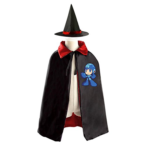 All Saints' Day Wizard Cloak Hat Costumes Print With Mega-Man Logo For Child - Mega Man Costume For Kids