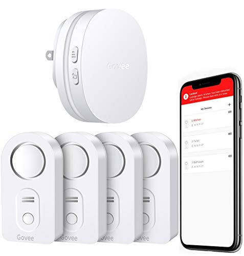 Govee WiFi Water Alarm, Smart APP Leak Alert, Wireless Water Sensor and Alarm with Email, Notification, App Alerts, Remote Monitor Leak for Home Security Basement(4 Packs)(Not Support 5G WiFi)