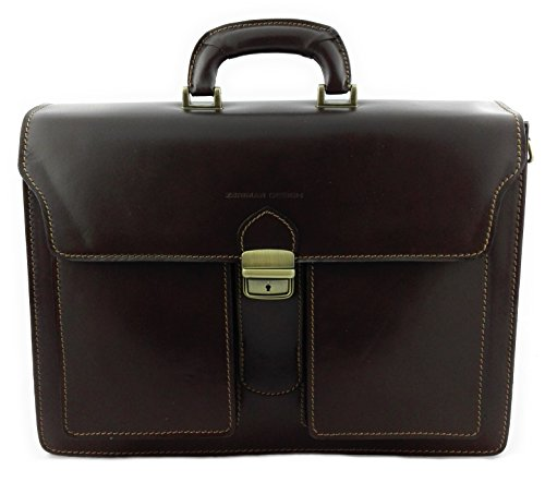x Briefcase 5 Colour Zerimar 11 Leather 15 Brown inchs Hand 7 8 Men x Brown Leather 9 Luggage Measures p57Bqw5