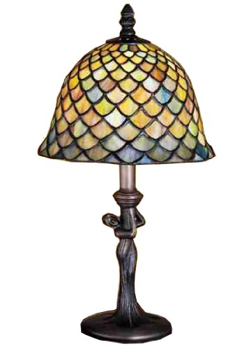 Meyda Home Indoor Bedroom Decorative Lighting 15 H Tiffany Fishscale Mini Lamp