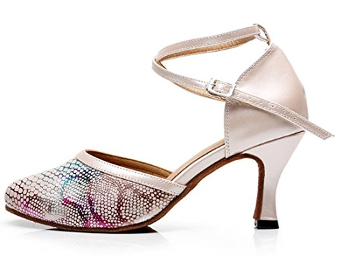 Toe Cross Samba Modern Dance 5cm Heel Synthetic Closed 7 Shoes Strap Salsa TDA Beige Snakeskin Latin Women's Tango High YSwqPn657