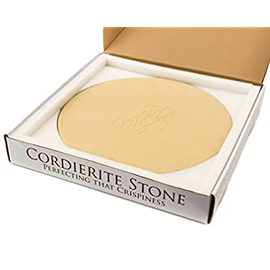 Kit-Chef Round Cordierite Pizza Stone 14  x 3/4  - Thick Sturdy Stone with Great Packaging