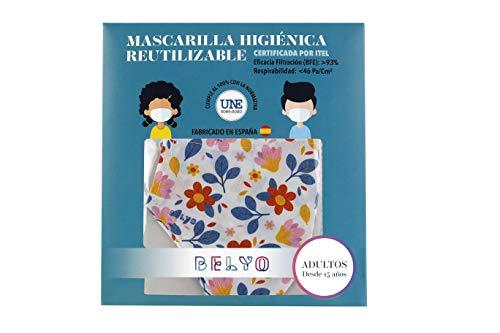"""Mascarilla higiénica reutilizable certificada y homologada con normativa UNE0065:2020. Certificada por ITEL (Instituto Técnico Español de Limpieza). Eficacia de filtración >93% (""""Ensayo BFE"""") y de Respirabilidad >46 Pa/cm2 (Presión diferencial). Tejido hidrofobo y anti bacteriano. Mascarilla compuesta en un 65% algodon, 35% polyester, lavable (hasta 20 lavados a 60 grados con jabon neutro), cómoda y segura"""