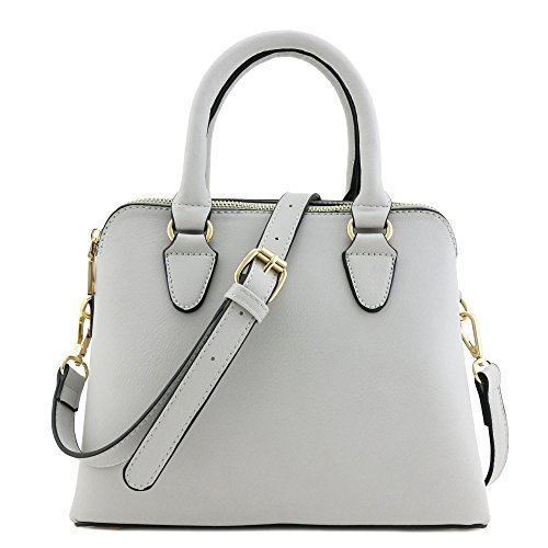 Classic Double Zip Top Handle Satchel Bag Light Grey (Light Double Handle Bag)