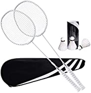Badminton Rackets Badminton Racket Professional Carbon Fiber Badminton Racket 2 Pack Ultra Light Durable with