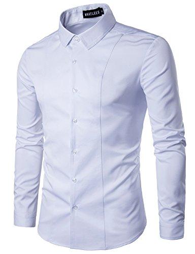 Cotton Long Sleeve Tuxedo - WHATLEES Men's Hipster Solid Slim Fit Long Sleeve Tuxedo Dress Shirts T27 White XX Large