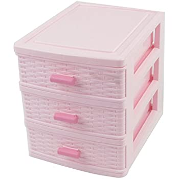 plastic drawer designed 3 compartment jewelry storage box light pink home kitchen. Black Bedroom Furniture Sets. Home Design Ideas