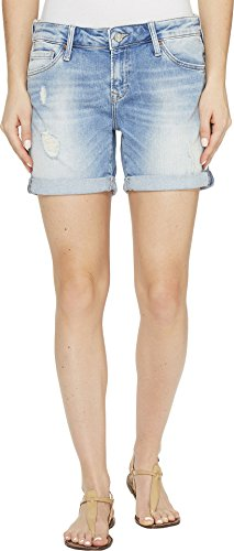Jeans Mavi Worn In (Mavi Jeans Women's Pixie Boyfriend Shorts in Light Ripped/Crashed Light Ripped/Crashed Shorts)