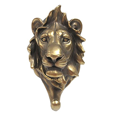 Pacific Giftware Wild Animal Head Single Wall Hook Hanger Animal Shape Rustic Faux Bronze Decorative Wall Sculpture (Lion)