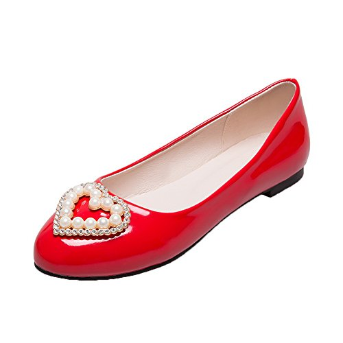 AllhqFashion Womens Patent Leather Low-Heels Round-Toe Pull-On Pumps-Shoes Red 76hj3WyNCd