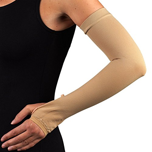 Compression Arm Sleeve with Gauntlet, Lymphedema Post-Op Support, X-Small (with Thumbhole) by Truform