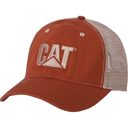 Cat Orange Twill/Tan Mesh-CAT Hat -