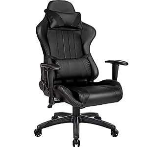 TecTake Silla de oficina ergonomica racing gaming con soporte lumbar - disponible en diferentes colores - (negro | no. 402229): Amazon.es: Hogar