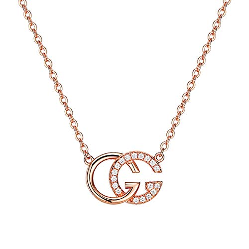 VANA JEWELRY Double Letter G Necklace Sterling Silver 925 Cubic Zirconium(CZ) Diamond Alphabet Pendant Necklace Gold Plated Girls Fashion Jewelry Gift for Her Mother's Day Anniversary Present -
