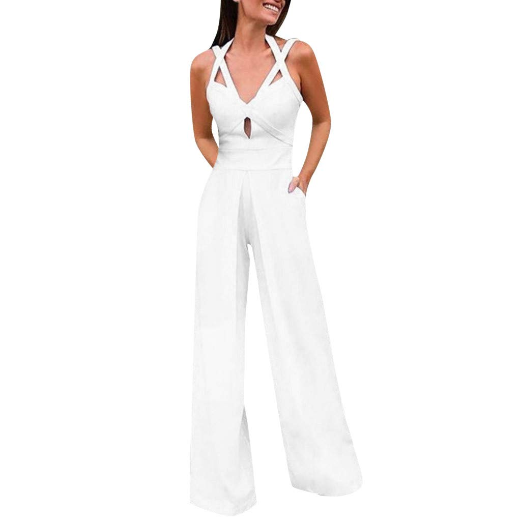 Women Long Elegant Jumpsuits Sexy Sleeveless V Neck Criss Cross Summer Casual Rompers with Pockets Daorokanduhp White by Daoroka Rompers & Jumpsuit