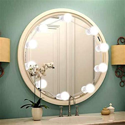 Hollywood Style LED Vanity Mirror Lights Kit with 10 Dimmable Light Bulbs, 1600LM 20W 5V 3-Mode 10-Level Adjustable Brightness Vanity Mirror Light Make Up Beauty Lamp UL Certified