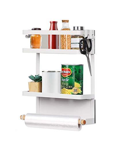 Kitchen Rack -Magnetic Fridge Organizer,Paper Towel Holder,Rustproof Spice Jars Rack,Multi Use Refrigerator Side Storage Shelf with 4 Removable Mobile Hooks,White
