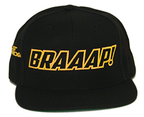 JUST RIDE Braaap Hat Flat Bill Snapback Motocross Sled (Black-Yellow) (Sled Yellow)