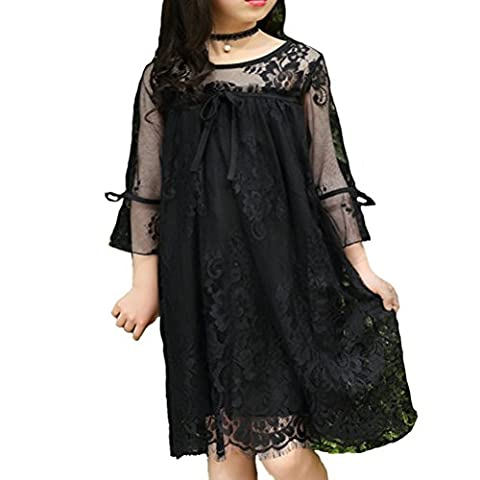JET-BOND Midi Tunic Dress for Little Girls BB14 1PC Princess Long Sleeve Lace Frock (4, Black) (Jet Midi)