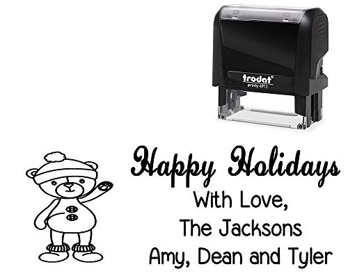 "Custom Happy Holidays Rubber Stamp. with Waving Teddy Bear Image - Size Approx. 7/8"" x 2 3/8"" Black, Blue, Green, Purple or Red Ink"