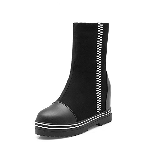 Toe On Boots Black Closed Pull Heels Top Materials Odomolor Women's High Round Blend Low X47aq