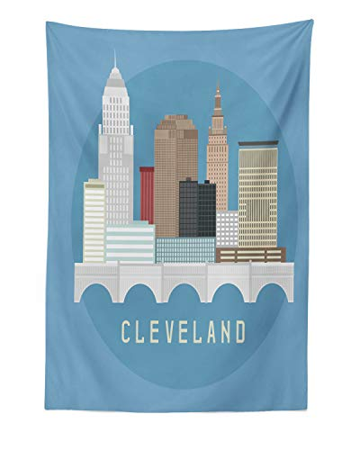 Lunarable Cleveland Tapestry, Composition with Flat Design High Rise Commercial Buildings of Cleveland City, Fabric Wall Hanging Decor for Bedroom Living Room Dorm, 30 W X 45 L Inches, -