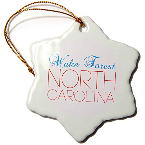 3dRose Alexis Design - American Cities North Carolina - Wake Forest, North Carolina, red, Blue Text. Patriotic Home Town Gift - 3 inch Snowflake Porcelain Ornament (ORN_303467_1)