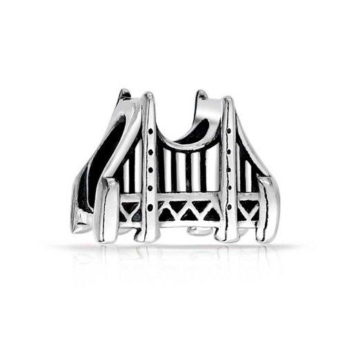 Golden Gate Bridge San Francisco Landmark Tourism Charm Bead For Women Oxidized Sterling Silver Fits European Bracelet