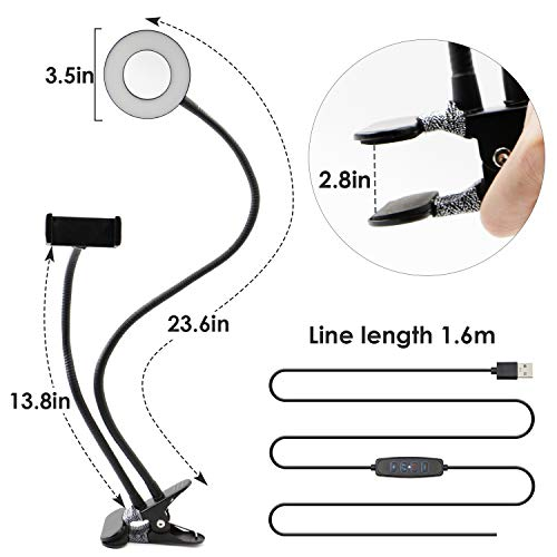 Selfie Ring Light with Cell Phone Holder,Selfie Light Clip Led Desk Lamp Mobile Phone Clip Holder for Bedroom, Office, Kitchen, Bathroom Live Stream Watch TV Tik Tok ,Flexible Arms Compatible with iPhone11 8 7 Plus X Android Huawei(Black)