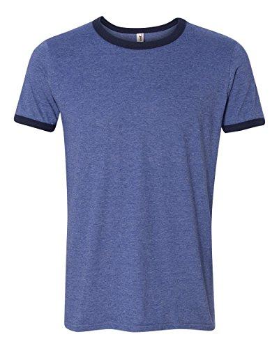 Anvil Adult Lightweight Ringer T-Shirt, Hthr Blue/Nvy, Medium