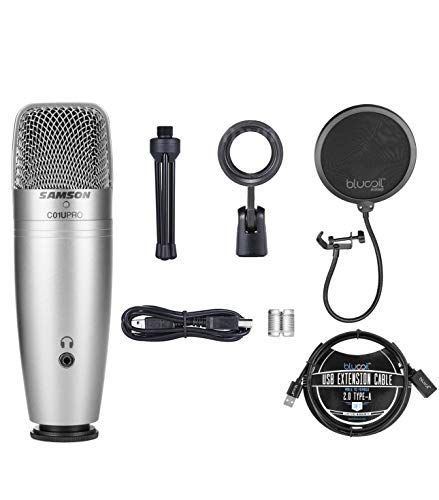 Samson C01U Pro USB Condenser Microphone with Zero Latency Monitoring for Windows, Mac, iPad Bundle with Blucoil Pop Filter Windscreen, and 3-FT USB 2.0 Type-A Extension Cable