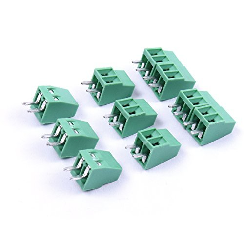 Mount Block - Atoplee 50pcs 2 Pole 2.54mm Pitch PCB Mount Screw Terminal Block Connector