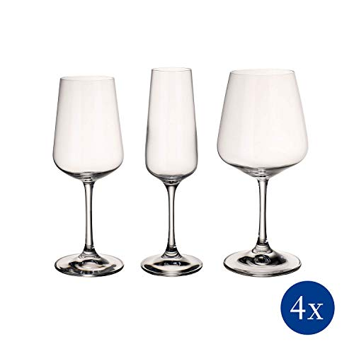 Villeroy & Boch Ovid Wine Glass Set of 12 - 4 Red, 4 White, 4 Champagne (Glasses Crystal Wine)