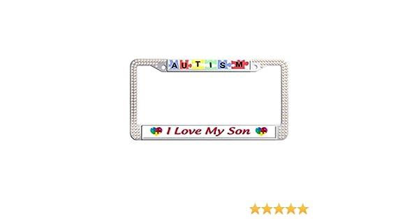 Autism I Love My Son Chrome License Plate Frame CafePress
