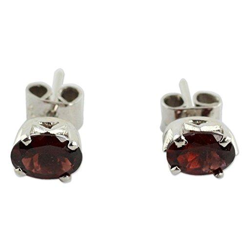 NOVICA .925 Sterling Silver and Garnet Artisan Handmade Stud Earrings, Scintillate'