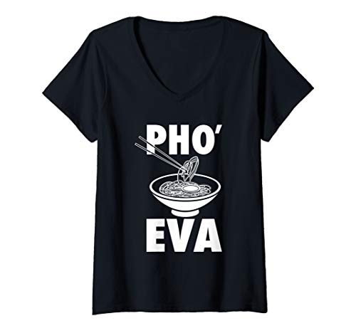 Gifts Asian - Womens Vietnamese Pho Gift Shirt Funny Pho Eva Asian Soup V-Neck T-Shirt
