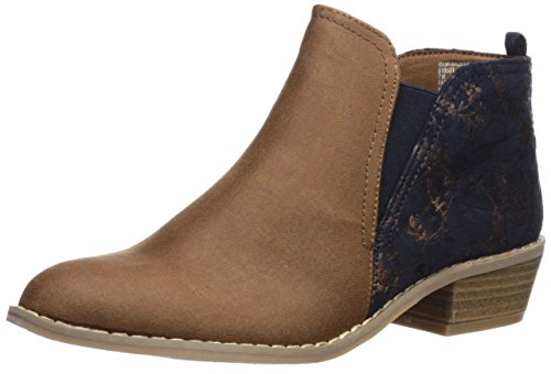 Rampage Women's Ram-Saddie Chelsea Boot, Camel/Navy Fabric, 7.5 B(M) US
